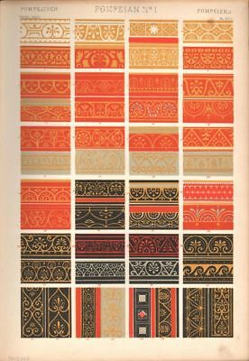 Owen Jones / Pompeian No 1 PRINT GRAMMAR OF ORNAMENT 1868