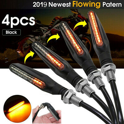 4x Motorcycle Turn Signal Indicator Light 12 LED Motorbike Flasher Amber Blinker