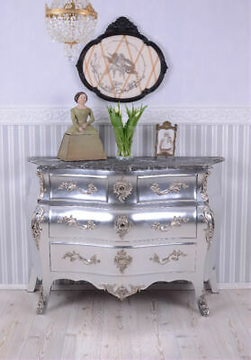 Chest Of Drawers Antique Style Baroque Silver Rococo Cupboard
