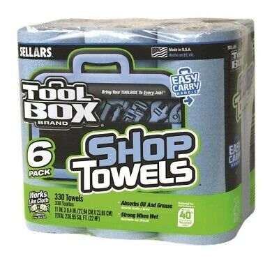 Blue Paper Shop Towels 60-Count Roll for Garage Shop or Industrial Use 6 Pack