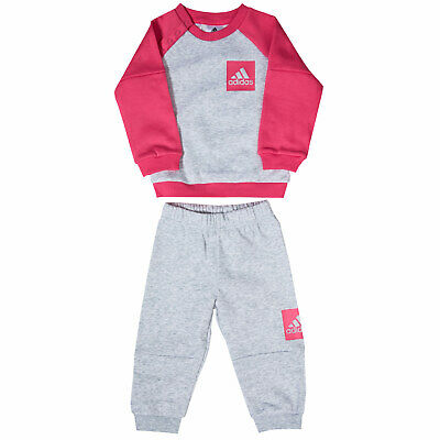 Baby Girls adidas Fleece Tracksuit In Grey Heather- Ribbed Cuffs, Collar And