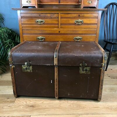 Antique Dome Top Leather Travelling Sailors Trunk Chest Vintage Storage Lounge