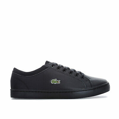 13dbfb102 Junior Boys Lacoste Straightset Trainers In Black- Lace Fastening- Cushioned