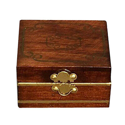 Wooden Filled Sticker Jewelry Box Cosmetic Case 1/12th Dollhouse Miniatures