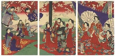 Original Japanese Woodblock Print, Chikanobu, Mount Fuji, Sakura, Beauty,Ukiyo-e
