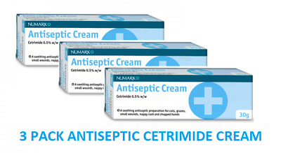 Anitseptic Cetrimide 0.5% Cream Nappy Rash Grazes Cuts Wounds Chapped Hands 30g
