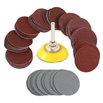 100pc 2'' 50mm Sander Sanding Discs Pads 80 - 3000 Grit Hook & Sander Backer Pad