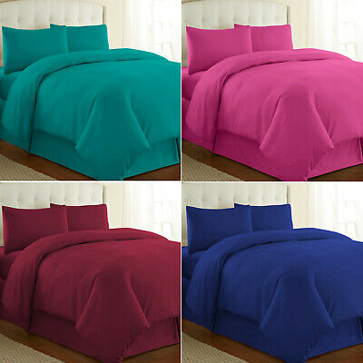 Plain Dyed Duvet Quilt Cover with Pillowcase Bedding Set Single Double King SK
