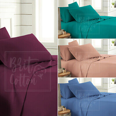 T160 Flat Sheet Easy Care Polycotton Plain Dyed Bedding Uk Bed Size