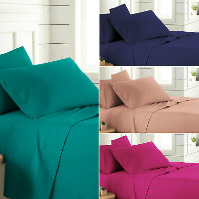 Flat Sheet Plain Dyed Poly-Cotton Bed Sheets Single Double King Size Pillow Case