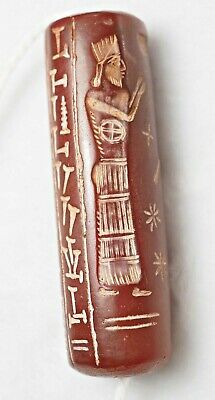 Ancient cylinder seal intaglio Carnelian Rolling Bead greek Worship Statue bead