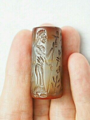 Ancient cylinder seal intaglio Carnelian Rolling villagers With deer bead