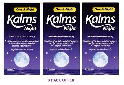 Kalms Night One-A-Night Valerian Root Extract 385mg - 21 Tablets - 3 PACK