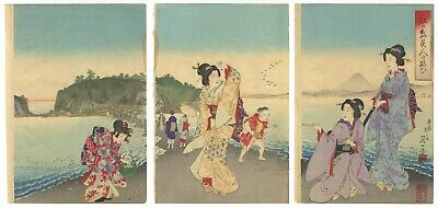 Original Japanese Woodblock Print, Nobukazu, Beauties on Enoshima Island,Ukiyo-e