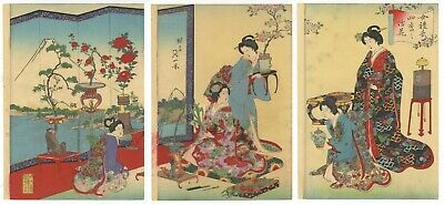 Original Japanese Woodblock Print, Nobukazu, Flower Arrangement, Lady, Ukiyo-e