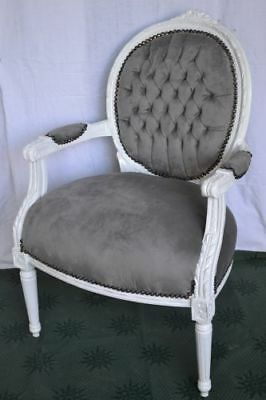 LOUIS XVI ARM CHAIR FRENCH STYLE CHAIR VINTAGE FURNITURE grey velvet white wood