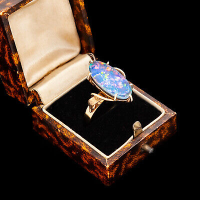 Antique Vintage Art Deco Retro 9k Gold English Australian Fire Opal Ring S 6.75