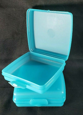 Tupperware Sandwich Keepers Set of 2 Aqua Water Blue Hinged Lid Lunch Toys New