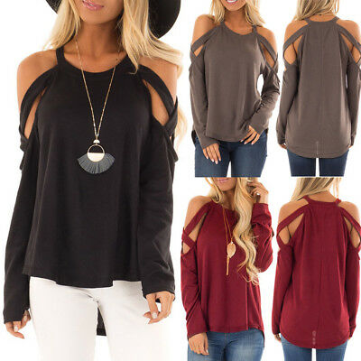 Fashion Women O-Neck Pure Color Long-Sleeve Strapless Top Easy Blouse S-2XL