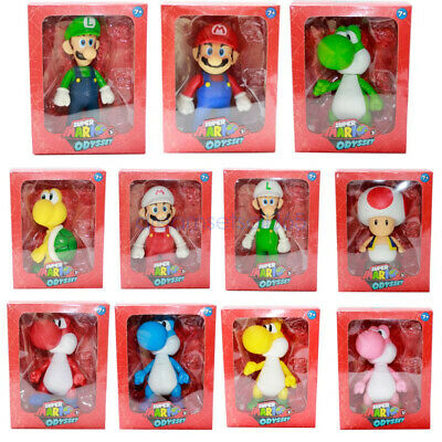 "5"" High Quality Super Mario Bros Odyssey Luigi Mario Action Figure Toy+Gifts Box"