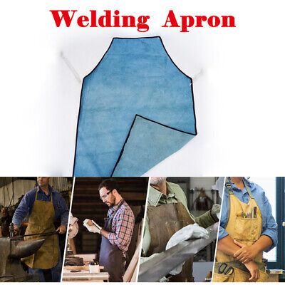 Welders Welding Apron Full Length Leather Blacksmiths Glaziers Apron Bib