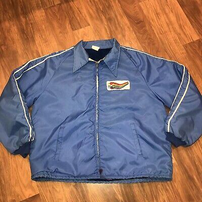 Vtg 60s 70s Blue Trucker MENS LARGE Work wear JACKET Horizon coat Rainbow Patch