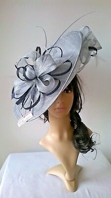 Silver grey metallic Hatinator with navy..Large saucer disc Wedding.races.