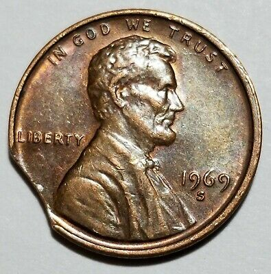1969 S - Beauty - Large Curved Clip - Lincoln Memorial Cent Mint Error #6245