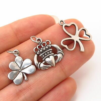 925 Sterling Silver Vintage Irish Shamrock / Claddagh Lot of 3 Charms Pendants