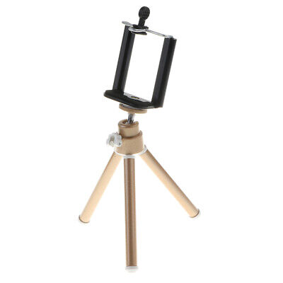 Portable Tripod Holder Stand 360° Rotation Adjustable+Clamp for Phones Gold