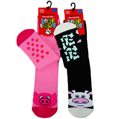 New Girls Cotton Soft Warm . Bed Socks Slipper Non Slip Socks Size 5-8, 9-12