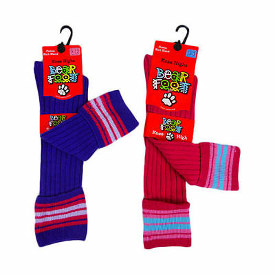 New Girls Thick Cotton Knee High Socks Pink Or Purple Size 5-8 Or Size 9-12