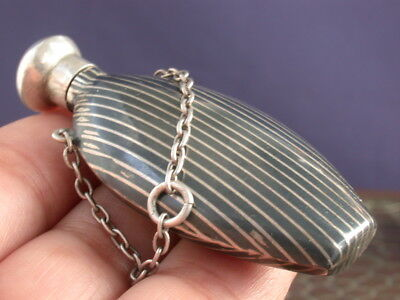 Antique Victorian Sterling Silver 900 Niello Chatelaine Perfume Bottle Flask