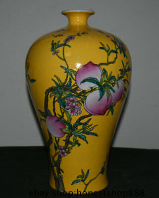 "17"" Marked Old Chinese Yellow Color Porcelain Shou Peach Flower Pot Bottle Vase"