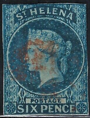 "St. Helena   1856 Sct #1, S/G #1,  USED/LH  ""Victoria""  6p IMPERFORATE  WMK 6"