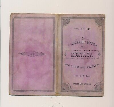 Rare 1884 Indexed Map Montana H.R.Page &Co. Chicago Price 25 Cents Purple Cover