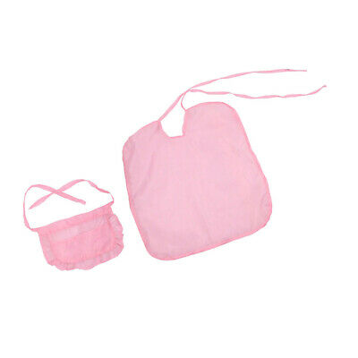 2pc 18inch Doll Hair Care Beauty Salon Hair Cutting Cloak and Apron Kit Pink