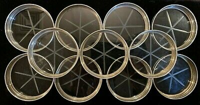 """Vintage Set of 11 Sterling Silver Marked Rim & Cut Glass 3"""" Coasters"""