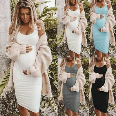 Women Ladies Maternity Dress Sleeveless Scoop Neck Tunic Pregnancy Dresses W