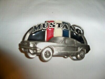 (Q)  Great American Buckle Co. #1954 Pewter Ford Mustang Belt Buckle