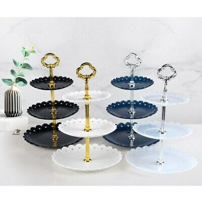 Party Plastic 3 Tier Cake Stand Afternoon Tea Wedding Plates Tableware Holder