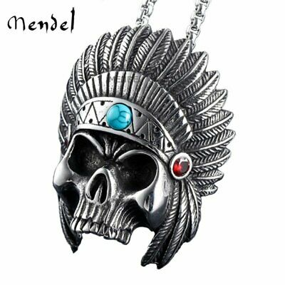 MENDEL Mens Native American Indian Chief Skull Biker Necklace Pendant Turquoise