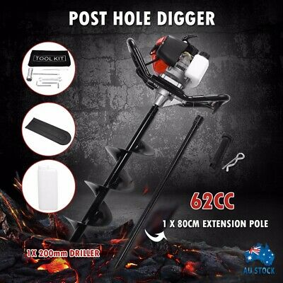 PDTO Petrol Post Hole Digger Drill Borer Fence Extension Auger 62CC 2 Stroke AU
