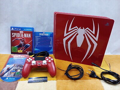 PS4 Playstation 4 Slim 1 TB Marvel's Spider-Man Limited Edtion Rot +Spider Con.