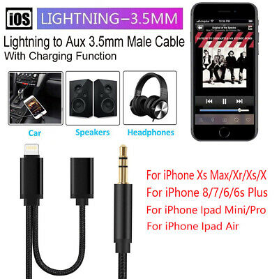 1M Lightning to 3.5mm Male Aux Jack Audio Charging Cord Cable For iPhone iPad