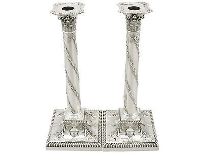 Antique Victorian 1890s Sterling Silver Candlesticks Height 32.7cm