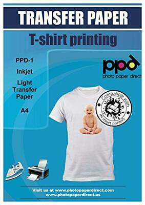 A4 Inkjet Iron On Transfers Paper / T Shirt Transfers - Light T Shirt x 20 Sheet