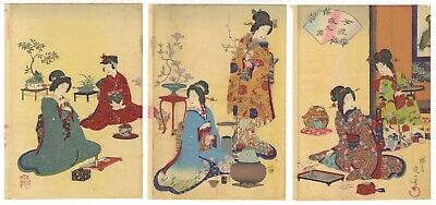 Original Japanese Woodblock Print, Nobukazu, Etiquette of a Lady, Flower,Ukiyo-e