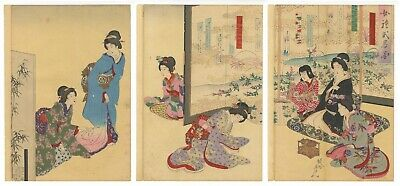 Original Japanese Woodblock Print, Chikanobu, Poetry, Beauty, Etiquette, Ukiyo-e