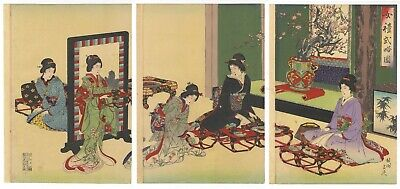 Original Japanese Woodblock Print, Chikanobu, Beauty, New Year Dishes, Ukiyo-e